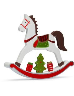 Rocking Horse Large Handpainted Christmas Ornaments Rocking Horse Wooden Painting