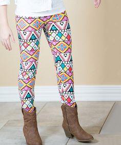 Yellow & Pink Geometric Leggings - Girls #zulily #zulilyfinds