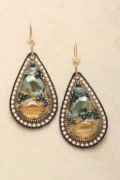 Champagne Fale Teardrop Earrings on Emma Stine Limited