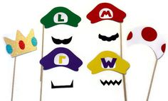 Photo Booth Props - Super Mario  Themed 10 Piece Set