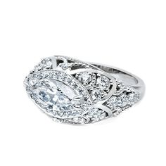 *Marquis Magic!* Would you wear this horizontally-set diamond ring as an Engagement Ring -or rock it on the Right Hand as a cocktail ring?