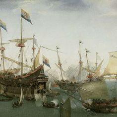 Old Dutch! De terugkomst in Amsterdam van de tweede expeditie naar Oost-Indië, 19 juli 1599, Hendrik Cornelisz. Vroom, 1599 - Rijksmuseum