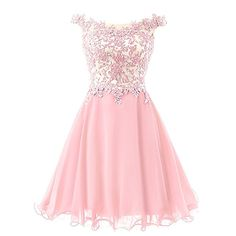 Amazon.com: FNKS Women's Straps Lace Bodice Short Prom Gown Homecoming Party Dress Pink US 6: Clothing