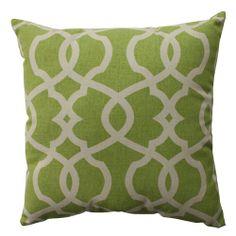 Lattice Damask Green, Beige Pillow