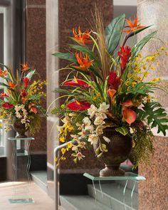 "There's nothing like the warm tropical breezes of the islands to soothe the senses whether you are there in person or just spiritually. Knowing this, our designers have created this breathtaking ""Tropical Paradise"" floral arrangement to help bring this visual to your interior. The softer tones of the cymbidium and oncidium orchids contrast nicely with the strong bold colors of the calla lilies, anthurium and bird of paradise. Majestically arranged in our 12"" tall aged brown urn, the large…"