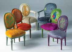 Painted cowhide chairs