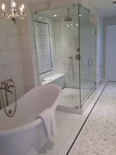 "12x24 Calacutta Stone Polished 2"" hexagon Bardiglio Marble Thassos Waterjet / exterior bathroom Traditional, contemporary modern free standing tub /CTM Tile 310-379-7646 www.ctmdealer.com"