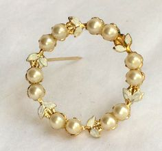 Vintage Enamel and Pearl Gold Tone Wreath Brooch Unsigned