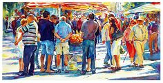 """Fruit stall by Graham Berry Watercolor ~ 10"""" x 20"""""""