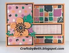 """Stampin' Up! Products     Peekaboo Peach cardstock   Card layer measures 11"""" x 4 1/4""""   Score at 2 3/4"""" and 5 1/2""""   Band card layer meas..."""