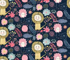 © Virginie Ozanon | Wild and sweet garden fabric by demigoutte on Spoonflower - custom fabric