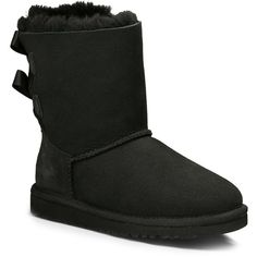 Ugg Kids Bailey Bow Suede Bow Boot (540 ILS) ❤ liked on Polyvore featuring shoes, boots, black, short suede boots, suede boots, black boots, black suede shoes and black ankle boots