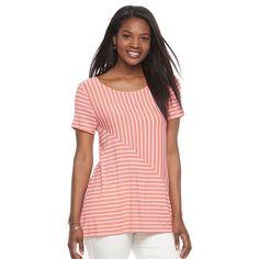 Women's Croft & Barrow® Asymmetrical Handkerchief Tee, Size: XS, Lt Orange
