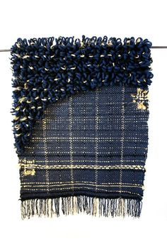 indigo + gold mullet rug
