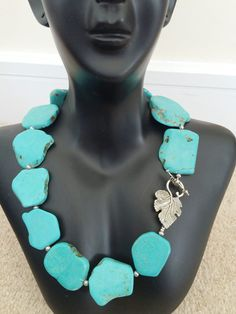 Large turquoise beaded statement necklace! by Theshobs on Etsy