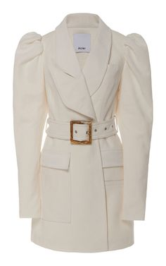 Alameda Puffed-Shoulder Belted Blazer Dress by Acler Blazer Dress, Coat Dress, Coats For Women, Jackets For Women, Clothes For Women, Satin Bomber Jacket, Fall Fashion Trends, White Outfits, Fashion Coat