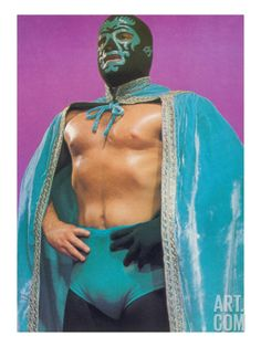 Mexican Wrestler in Turquoise Cape Art Print at Art.com