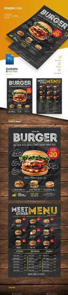 Food Flyer — Photoshop PSD #modern #sandwich • Download ➝ https://graphicriver.net/item/food-flyer/21613065?ref=pxcr