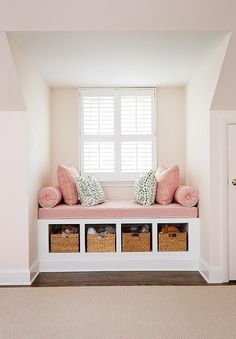 Pink girl's room features a nook filled with a built-in window seat fitted with open cubbies filled with woven baskets topped with a dusty pink linen cushion with white piping as well as matching bolster pillows, Girls Bedroom Decor Small Space Living, New Room, Home Interior Design, Diy Interior, Apartment Interior, Apartment Design, Room Interior, Apartment Ideas, Apartment Goals