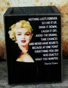 Marilyn Monroe Box / Handmade Wooden Box / Pencil Box / Glamour Box / Old Hollywood Glamour / Makes Marilyn Monroe Artwork, Marylin Monroe, Wisdom Quotes, True Quotes, Funny Quotes, Qoutes, Tattoo Quotes About Life, Marilyn Monroe Quotes, Celebration Quotes