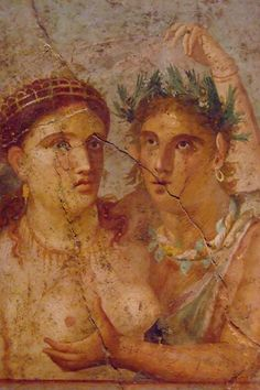 Pompeii. Fresco of a satyr and maenad, from the House of L. Caecilius Jucundus