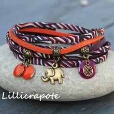 "Bracelet cordon liberty et suedine 2 tours "" nomade "" violet orange bronze _ breloque sequin elephant _ esprit ethnique tribal"