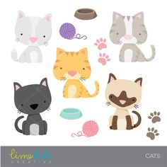 Cute Cats Clipart Five different little cats and accessories clipart images to use on invitations, cards, scrapbooking, party printables, etc., included in this set are a black and a white cat and a gray and orange striped cats and a Siamese.