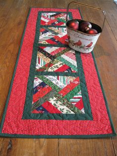 Strip Twist Table Runner Christmas Table Runner by Quiltedhearts5