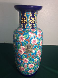 Emaux De Longwy  France  French Art Enameled  Floral  Pottery Vase 9 1/2 Inches