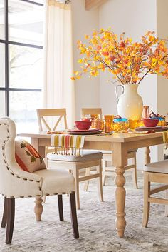 The clean, honest design of Pier 1's Torrance Turned Leg Dining Table works well in a wide range of settings and adapts to new looks all year long. Hand-hewn of boldly grained hardwood, it's rubbed to a smooth whitewash finish. Turned legs, awesome. Turned heads, even better. Come explore the entire collection to build your own look (pieces sold separately).