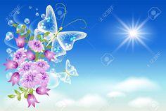 9657874-Flowers-and-butterflies-in-the-sky-Stock-Vector-flowers-heaven-butterfly.jpg (1300×879)