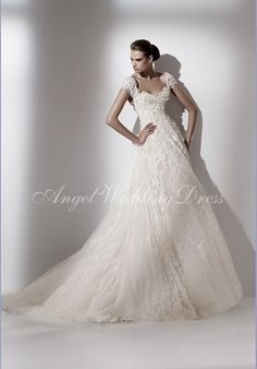 A-Line Sweetheart Floor Length Attached Tulle Embroidery Wedding Dress Style WD60203