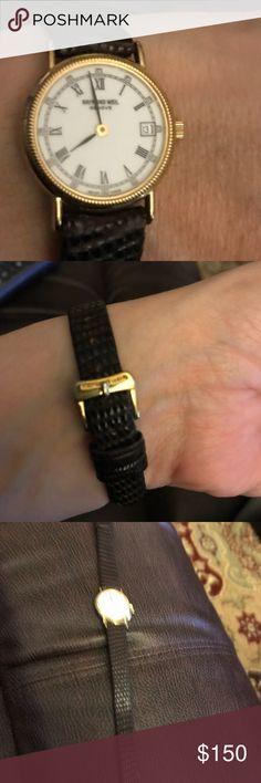 Raymond Weil ladies quartz watch. 18k electroplated. 10M 1534-2. Leather lizard wristband. Needs a battery Raymond Weil Accessories Watches