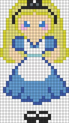 Alice in Wonderland Hama Perler Bead Pattern or Cross Stitch Chart