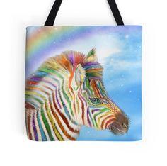 Rainbow Zebra designer tote bag featuring the fantasy art of Carol Cavalaris.