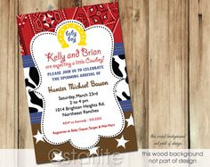 A very popular baby boy western baby shower invitation brown red bandanna cowboy CHOICE OF DIGITAL FILE (you print option) OR PRINTED PACKAGE, $20