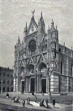 Antique print :Cathedral of Siena Italy / Cattedrale di Santa Maria Assunta 1865