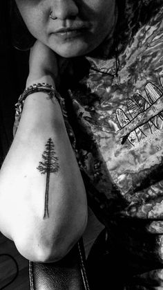 Red wood pine tree Stick and poke tattoo From Catherine Hénault, PIN POINT