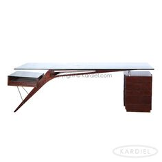 1949 Protractor Desk Mid-century Modern, Deep Stained Ash Wood/Glass |
