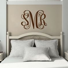 Personalized Initial Monogram Vinyl Wall Decal - Master Bedroom Wall Decal - Baby Girl Nursery 22H x 30W MB001 on Etsy, $32.95