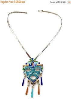 Taxco Sterling Silver Mayan Mask Brooch Pendant by Vintageimagine