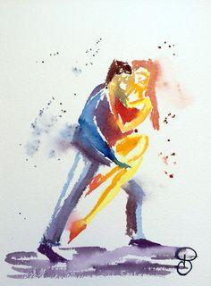 Aquarelle moderne Tango 3 représentant un par PaulineArtGallery