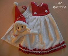 How to! - Kitchen Towel elf and doll quilts + PATTERN