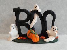Halloween Boo Ghost Clay Figure by joannslogcabin on Etsy, $8.00
