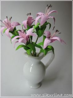pink lilies from paper