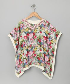 Pink & Red Floral Kaftan Tunic - Toddler & Girls by Smock Couture