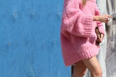 cozy pink knit & not much else. works too. NYC.