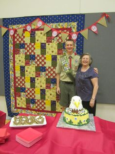 quilt made for Eagle Scout Ryan, cake made by Amy