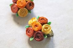 vintage 1940s flower earrings  RAFFIA ROSE orange by MsTips