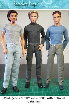 "PDF SEWING PATTERN 002 - Full tutorial. Jeans & pants for 12"" male dolls, such as Barbie friend Ken."